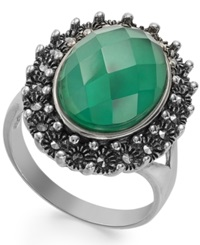 Genevieve And Grace Sterling Silver Green Agate And White Quartz Doublet 6 Ct. T.W. And Marcasite Ring