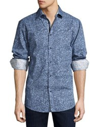 English Laundry Pixelated Button Front Sport Shirt Black