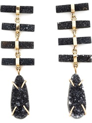 Melissa Joy Manning Druzy Pendant Earrings Black