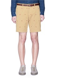 Scotch And Soda Camel Print Belted Twill Shorts Brown