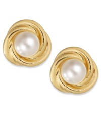 Giani Bernini Resin Pearl Love Knot Stud Earrings In 24K Gold Over Sterling Silver