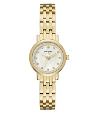 Kate Spade Mini Monterey Crystal Studded Stainless Steel Five Link Bracelet Watch Gold