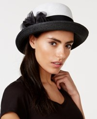 Nine West Flower Pin Cloche Black Check Tweed