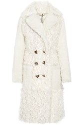 Burberry Oversized Shearling Coat Off White