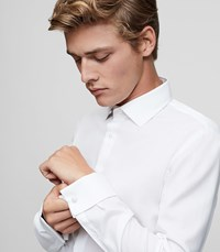 Reiss Papa Slim Fit Textured Shirt In White Mens