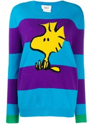 Chinti And Parker Striped Snoopy Jumper Blue