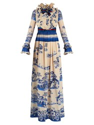 Gucci Porcelain Garden Print Silk Gown Blue Multi