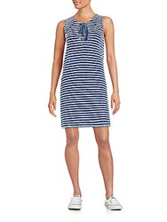 Rd Style Striped Cotton Shift Dress Indigo