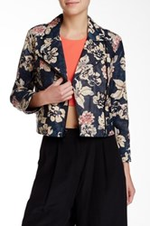 Elizabeth And James Lily Erwan Printed Genuine Leather Jacket Black