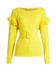 Muveil Ruffle Trimmed Cotton And Wool Blend Sweater Yellow