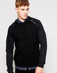 Firetrap Cable Knit Jumper Black