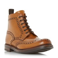 Loake Bedale Leather Lace Up Brogue Boots Tan