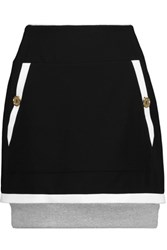 Moschino Ribbed Cotton Trimmed Crepe Mini Skirt Black