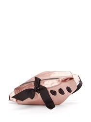 Marques Almeida Bow Detailed Metallic Leather Belt Bag Pink Multi