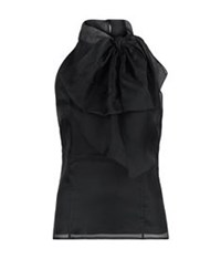 Milly Gwyneth Bow Front Halter Top Black