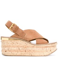 Chloe Camille Wedge Sandals Women Leather Suede 35.5 Brown