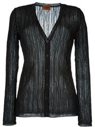 Missoni Semi Sheer Wrinkled Button Down Cardigan Black