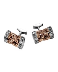 Bronze And Sterling Silver Braid Cuff Links John Hardy Blue