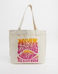 The North Face Never Stop Pink Logo Tote Bag In Natural Cream