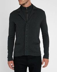 Ikks Charcoal Mock Collar Cardigan Jacket