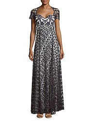 Marchesa Embroidered Short Sleeve Gown Navy