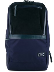 As2ov Zipped Backpack Men Calf Leather Nylon One Size Blue