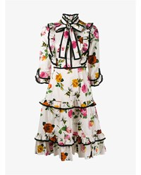 Gucci Floral Print Ruffle Dress White Multi Coloured Black
