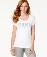 Dkny Jeans Ombre Rhinestone Graphic T Shirt White