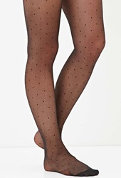 Forever 21 Dotted Mesh Tights Black