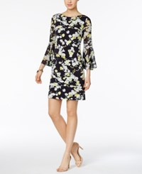 Jessica Howard Floral Print Bell Sleeve Shift Dress Navy White Yellow