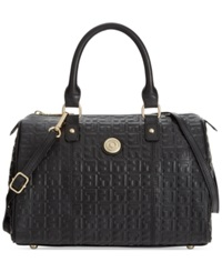 Tommy Hilfiger Quinn Debossed Leather Medium Convertible Satchel Black
