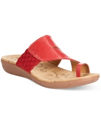 Bare Traps Junia Footbed Toe Thong Sandals Women's Shoes Red