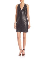 Milly Leather Shift Dress Black