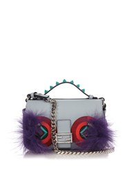 Fendi Double Micro Baguette Bag Bugs Cross Body Bag Blue Multi