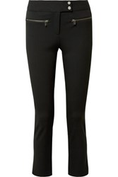 Veronica Beard Metro Cropped Zip Embellished Stretch Twill Flared Pants Black