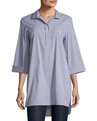 Lafayette 148 New York Desirae Freeport Striped Oversized Blouse Admiral Blue Mult
