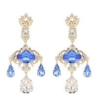 Dolce And Gabbana Crystal Embellished Earrings Blue
