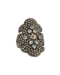 Armenta Old World Diamond Scroll Ring With Garnet Gold