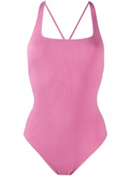 Ganni Ribbed Swimsuit Pink