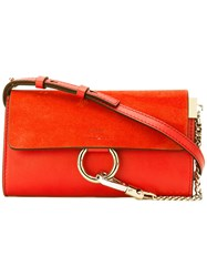 Chloe Faye Wallet On Strap Bag Women Calf Leather Suede One Size Red