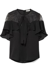 Elie Saab Lace And Ruffled Silk Blend Crepe Blouse Black