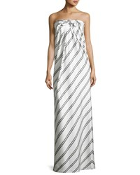Halston Striped Strapless Knot Front Gown White Black White Black