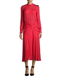 L.A.M.B. Silk Army Shirt Midi Dress Red