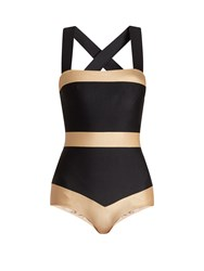 Adriana Degreas Striped Cross Back Swimsuit Black Gold