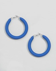 Monki 80S Thick Hoop Earrings Blue