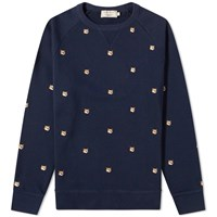 Maison Kitsune All Over Fox Head Embroidery Crew Sweat Blue