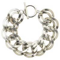 Monet Textured Double Chain Bracelet Silver