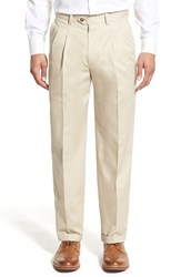 Nordstrom Men's Big And Tall Men's Shop 'Classic' Supima Cotton Pleated Trousers Beige Light