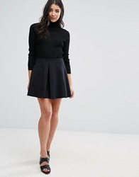 Oh My Love Scuba Skirt With Pleat Front Black