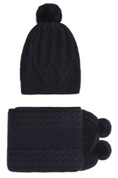 Chinti And Parker Cable Knit Merino Wool Scarf Beanie Set Midnight Blue